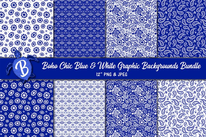 Boho Chic Blue and White Graphic Background Digital Papers