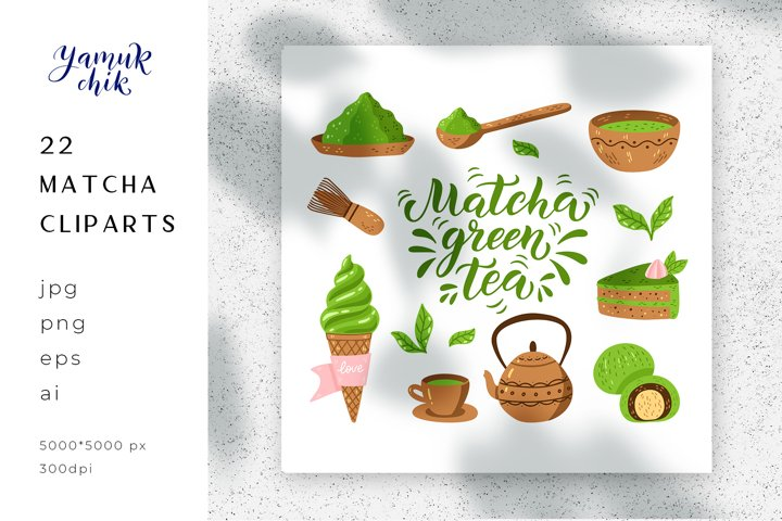 Bundle Matcha tea cliparts sublimation, Matcha clip-art png