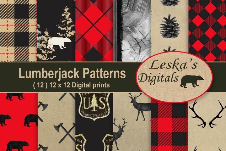 LumberJack Pattern Backgrounds, Digital Scrapbook Paper