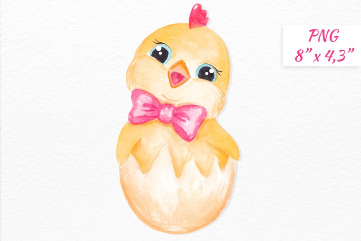 Chicken clipart Watercolor Easter Chick character clipart