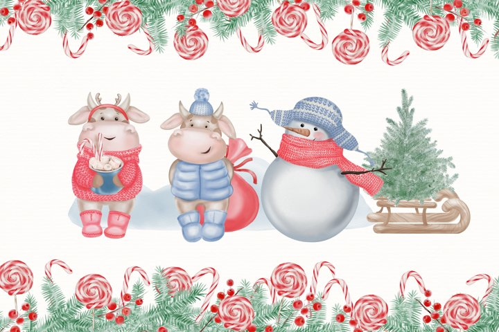 Watercolor Christmas Clipart. Christmas Bull. Snowman. PNG example 6