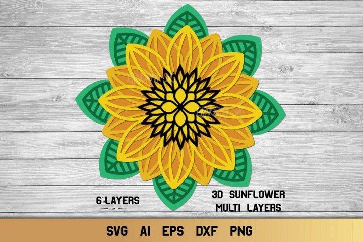 3d Layered Floral Mandala SVG | Multi Layer SVG | Sunflower