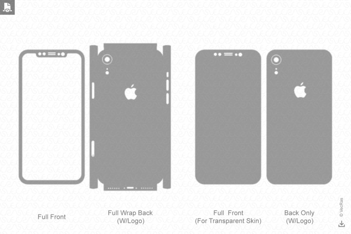 Apple iPhone Xr Vinyl Skin Cut File Template 2018