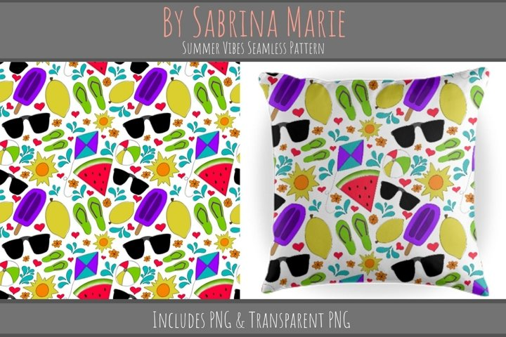 Summer Vibes Seamless Pattern   Summertime Repeating Pattern