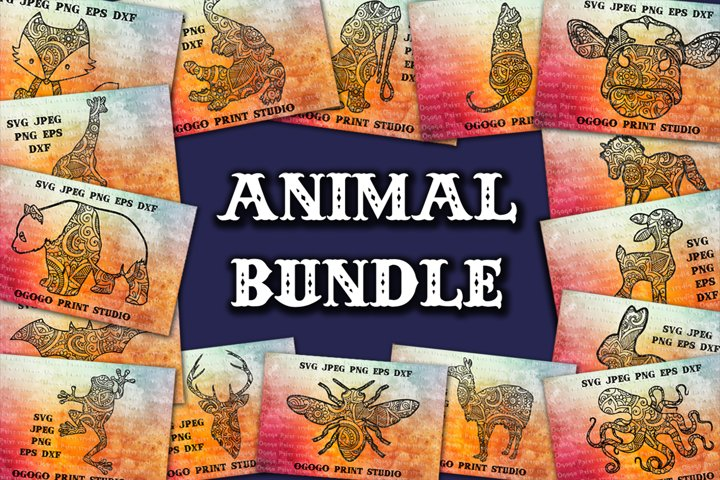 Mandala style 30 Animal Svg BUNDLE, Zentangle Svg, Boho svg