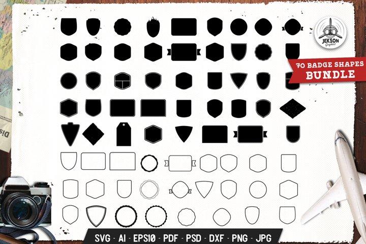 Badges Shapes Set Silhouette, Line Vector Graphic SVG Cricut