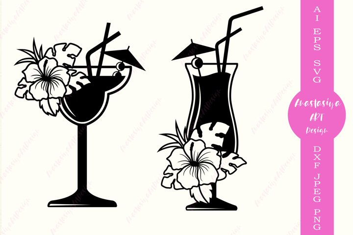 Tropical cocktail svg, Beach life svg cut file, Summer dxf