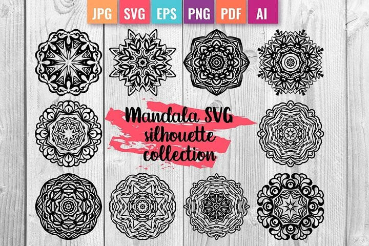 Mandala and SVG silhouettes collection for cut and print