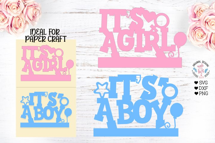 Its a girl - Its a boy - Baby Gender Revelation SVG