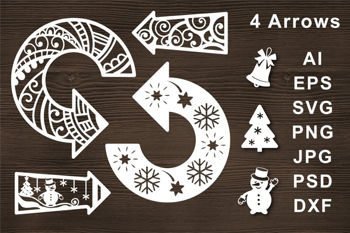 Arrow SVG Cut file for Crafters. Line simple ornate. Snowman
