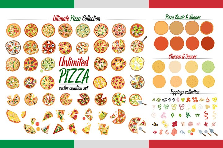 Unlimited Pizza collection. 36 ready, 70 elements. Create!