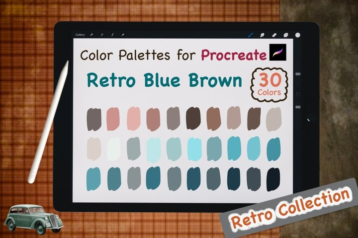 Color Palettes set for Procreate - Retro Blue Brown