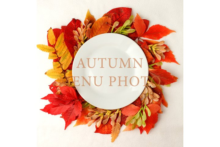 White plate with autumnal decor on white background
