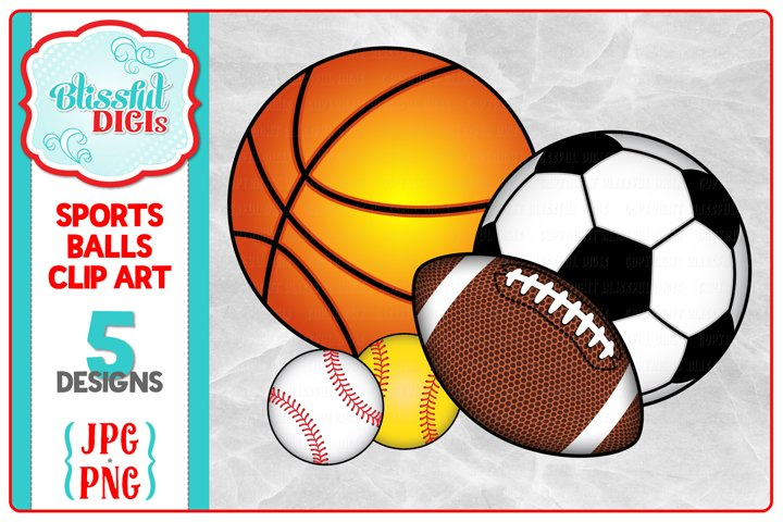 Sports Balls Clip Art - Baseball/Football/Soccer/Basketball