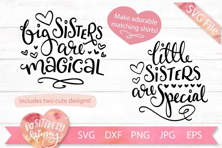 Cute Sisters SVGs, Big Sister, Little Sister, Matching Set