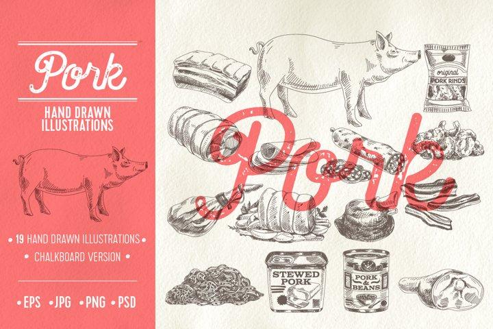Vector hand drawn dairy illustrations