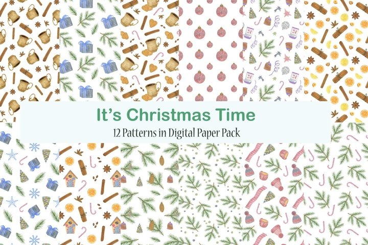 Christmas watercolor seamless patterns collection
