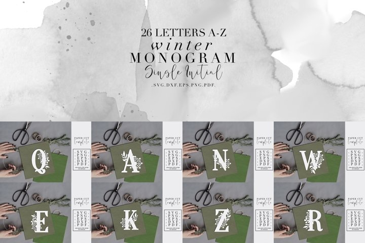 Bundle Of 26 A-Z Winter Monogram Paper Cut Template, SVG DXF