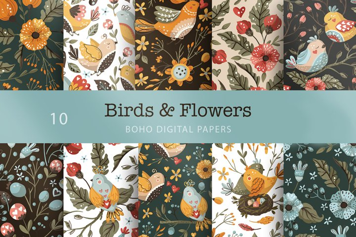 Birds & Flowers seamless pattern set.