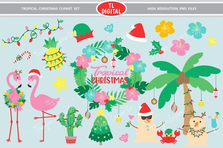 Tropical Christmas Clipart Set - 28 Graphics
