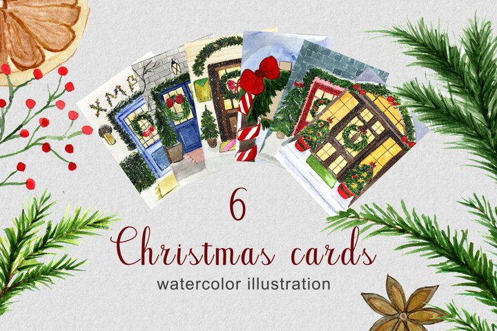 Christmas set of watercolor cards