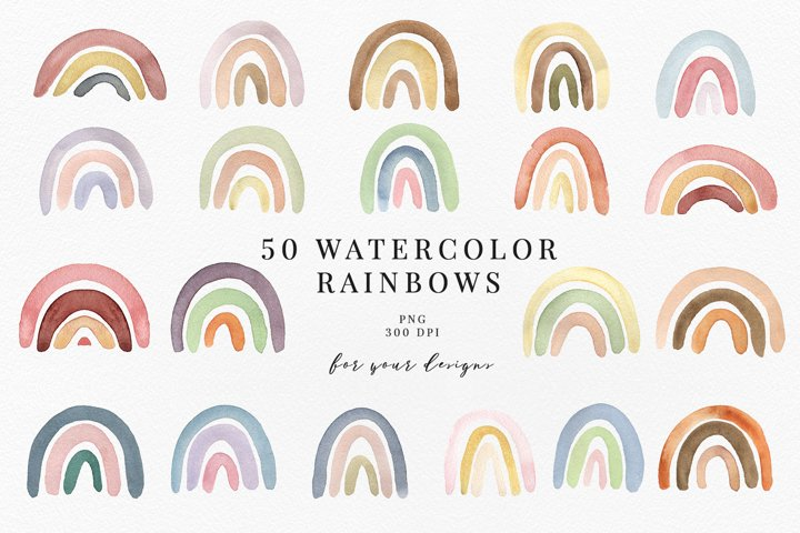 50 WATERCOLOR RAINBOWS, pastel rainbow clipart