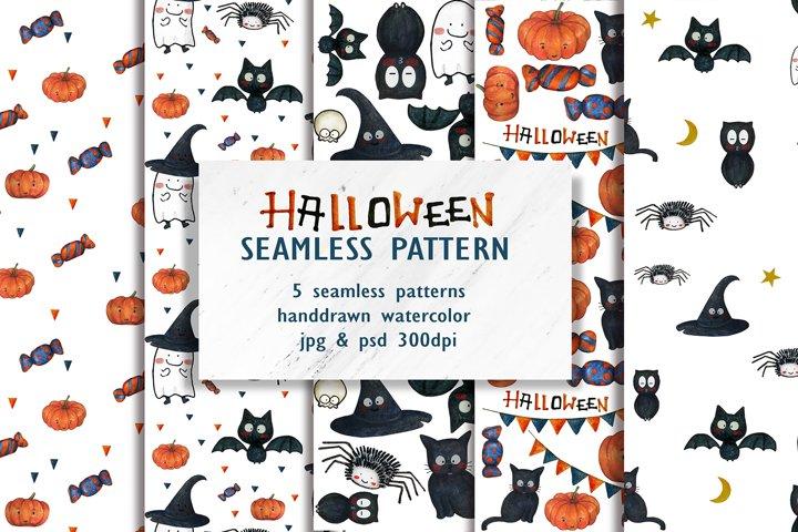 Watercolor Halloween Seamless Pattern