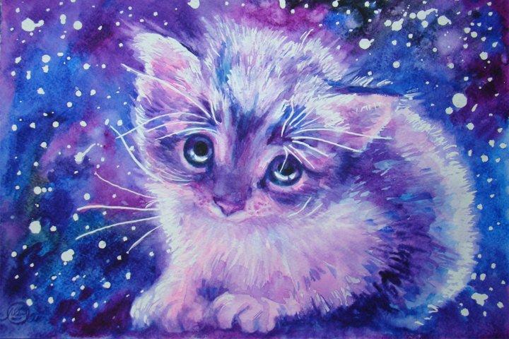 Watercolor space kitten