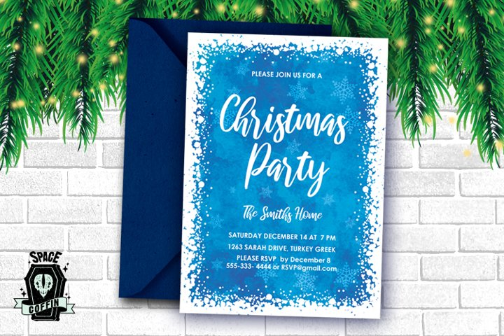 Christmas Party Snow invitation PSD FILE
