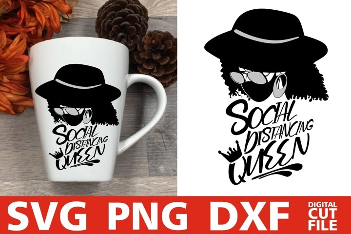 Social Distancing Queen svg, Mask svg, Woman in Glasses svg
