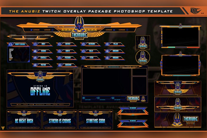 Anubiz Twitch Overlay Live Stream Photoshop Template