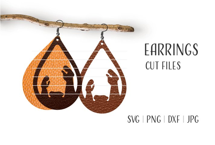 Nativity Earrings Svg, Earrings Template