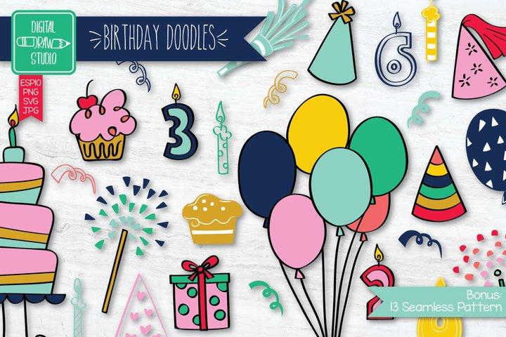 Colored Hand drawn Birthday Doodle  Festive Illustration