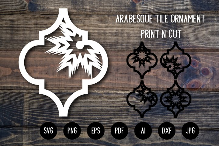 Arabesque Tile Christmas Ornament v.2. Lantern SVG Cut File