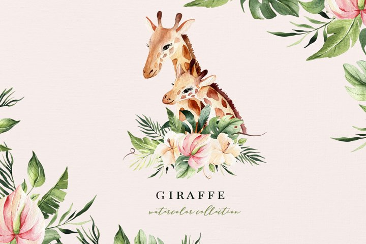 Giraffes watercolor clipart with tropical flowers and leaves