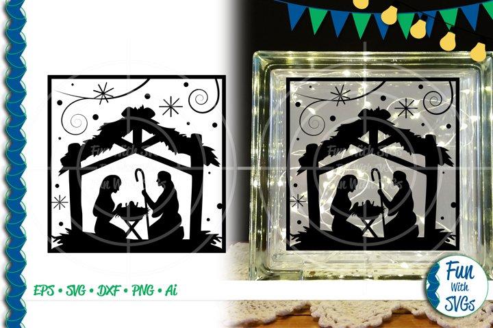 SVG Nativity Scene Glass Block, Cut File, Clip Art FWS450