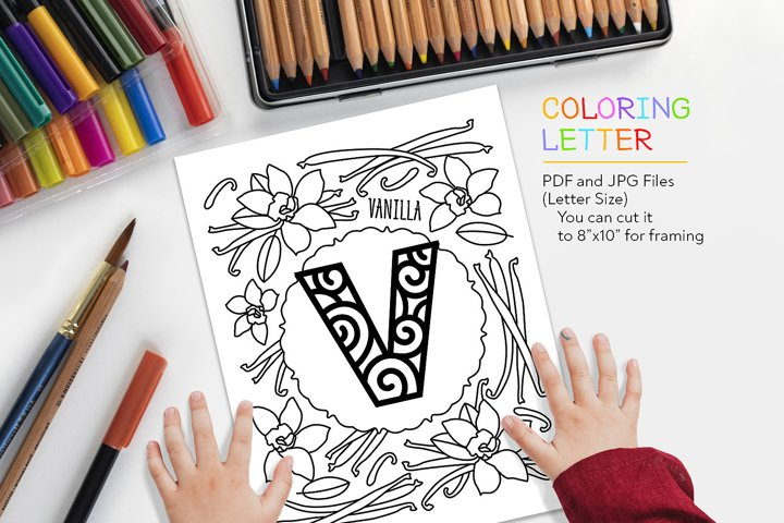 Letter V - Vanilla Coloring Page