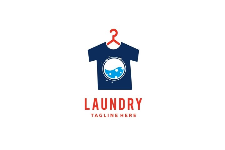 Laundry and dry cleaning t shirt hanger logo design vector