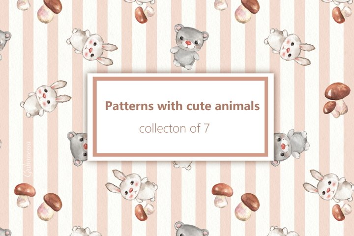 Cute animals. 7 seamless patterns
