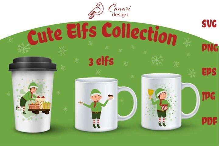 Cute Elfs Collection vector clip art