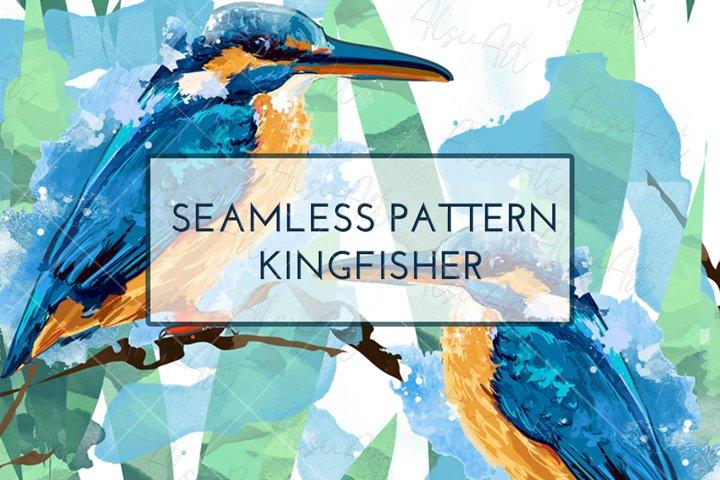 Seamless pattern kingfisher illustration