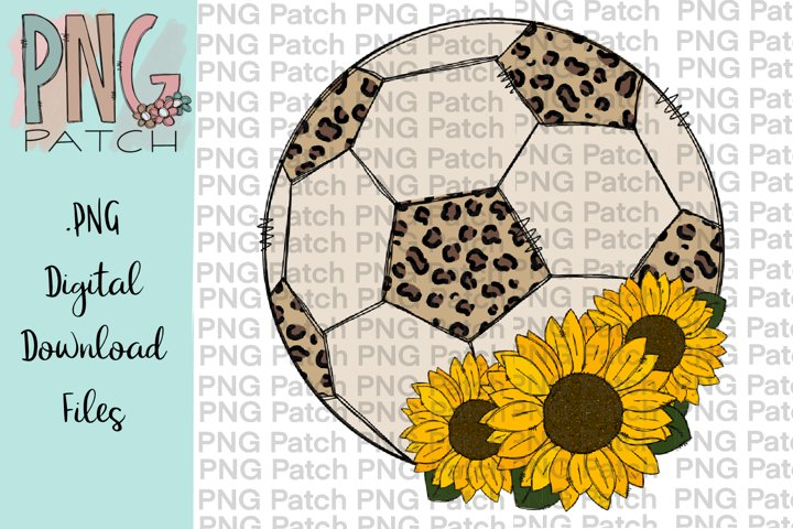Leopard Print Soccer Ball with Sunflowers, Soccer PNG File