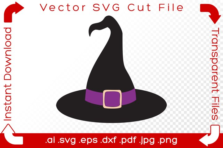 Witchs Hat SVG Black Halloween Cartoon Cut File for Makers