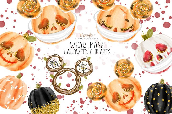 Halloween face mask pumpkin illustration