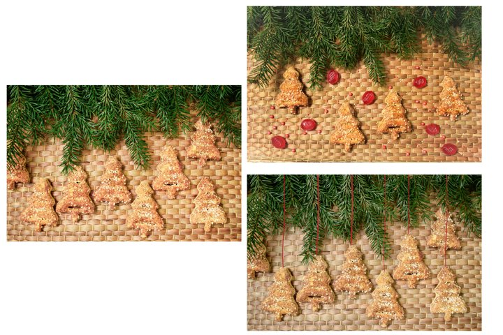 Set 3 Christmas tree shaped cookie on wicker background