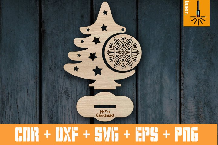 Christmas tree template sign for Laser cut | Cnc vector