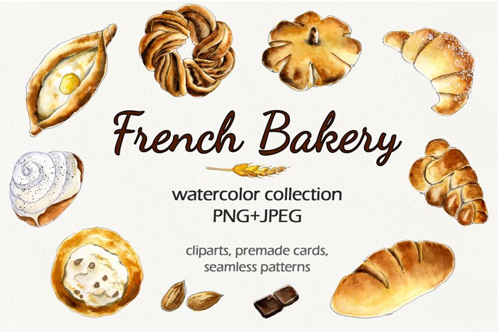French Bakery Watercolor set