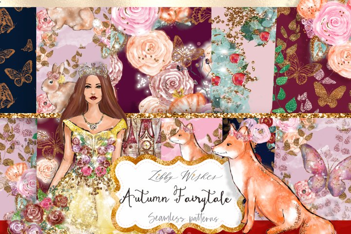 Autumn Fairytale Fall Patterns digital papers