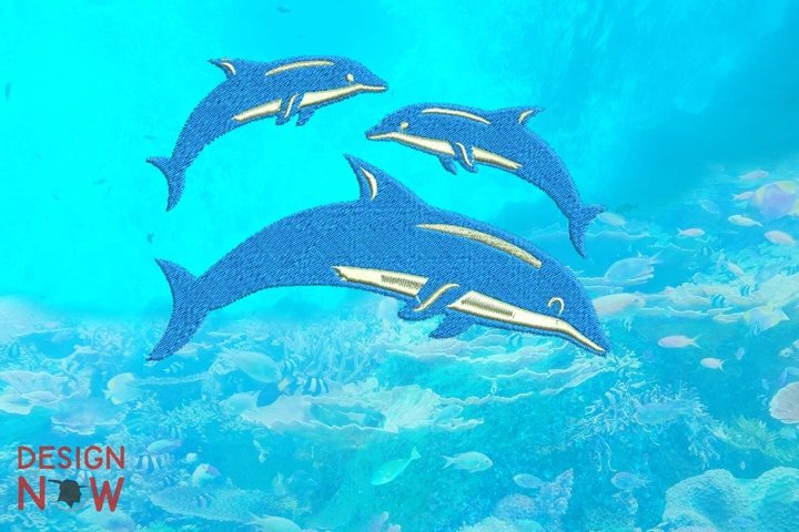 Dolphin Family Embroidery Design, Ocean Embroidery Pattern