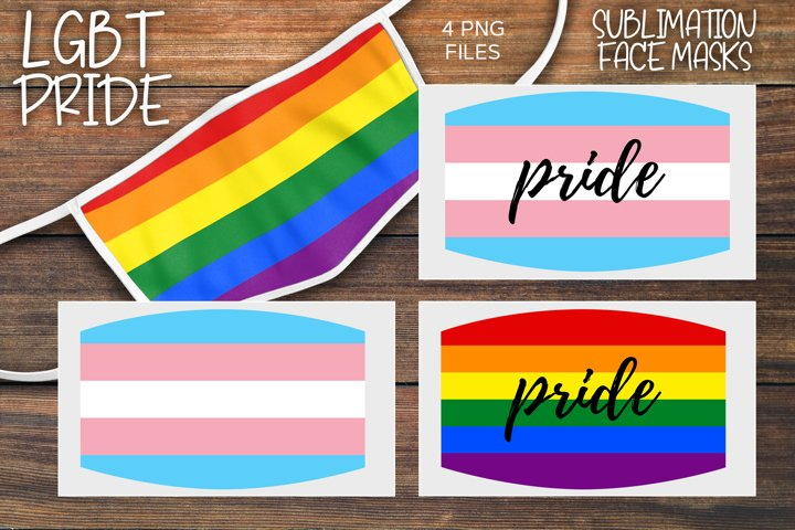 Sublimation LGBT Pride Rainbow Face Mask Set - 4 PNGs
